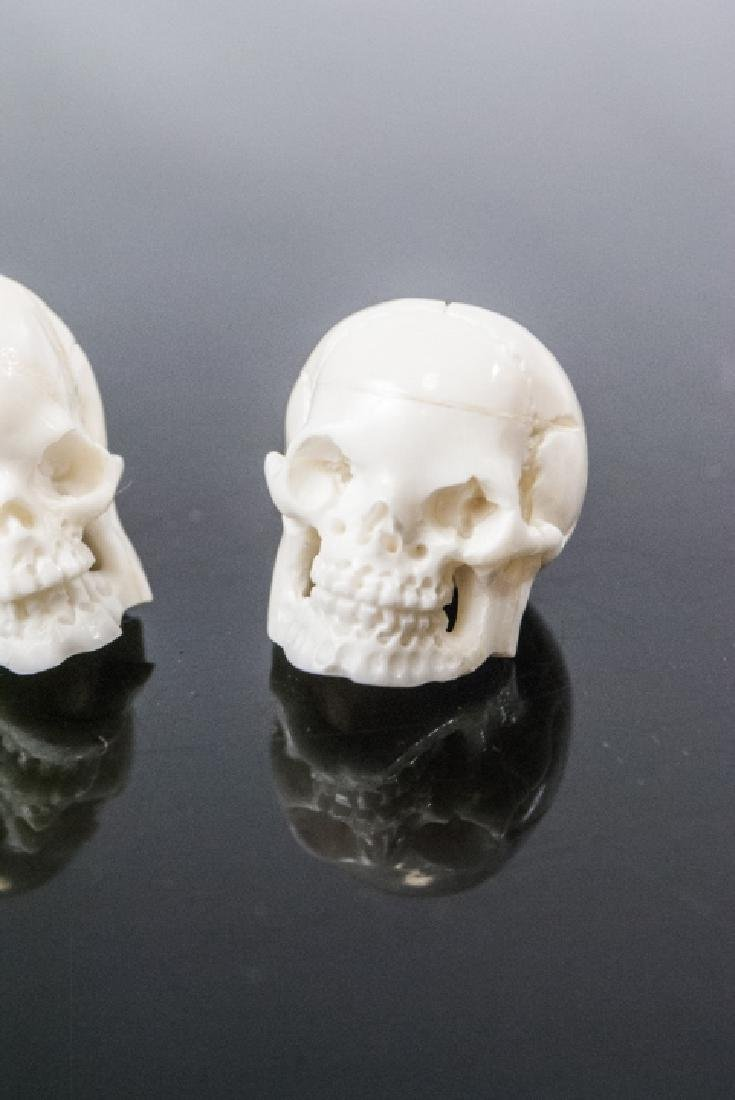 Pair Memento Mori Human Skull Necklace Pendants - 3
