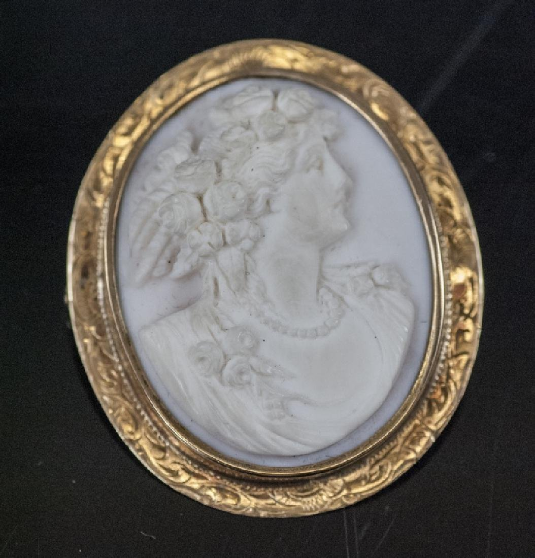 Antique 19th C 14kt Gold Conch Shell Cameo Pendant