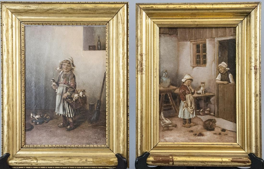 Pair Antique 19th C Continental Paintings on Panel