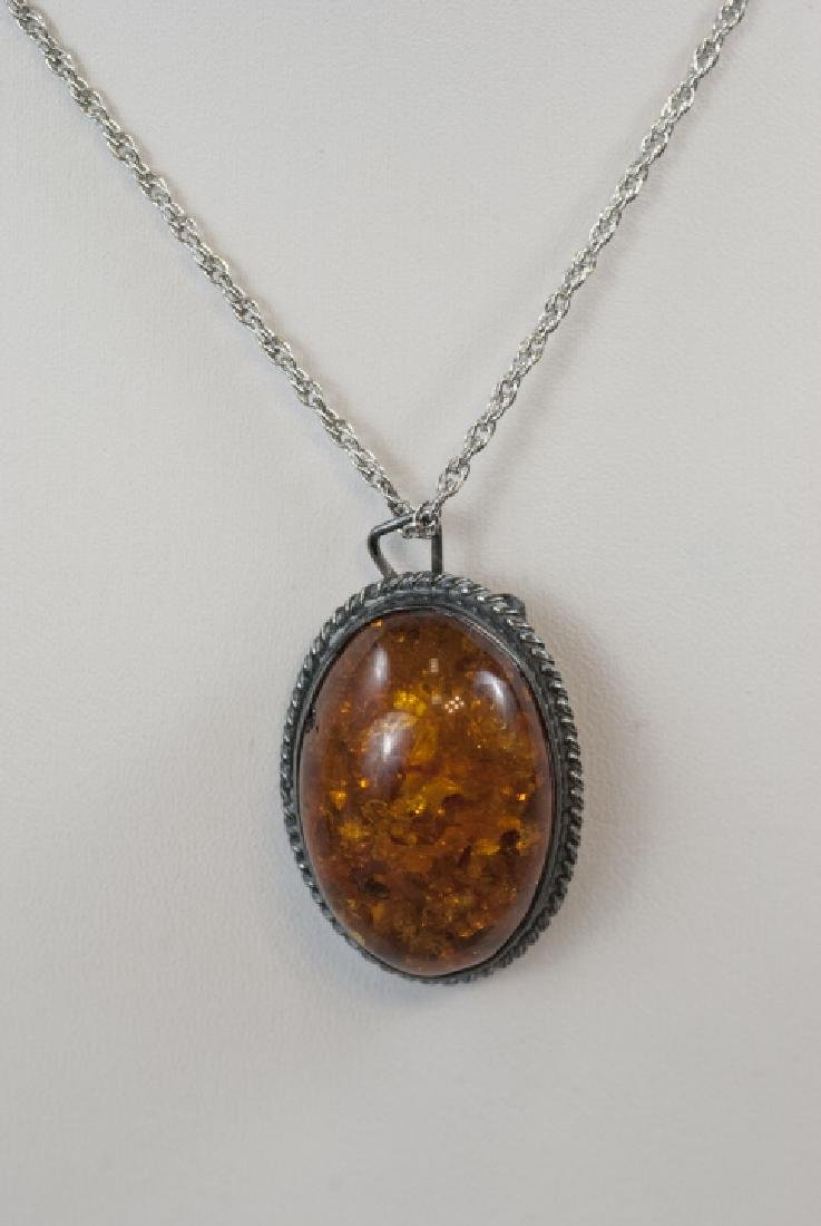 Vintage Sterling Silver & Cabochon Amber Necklace