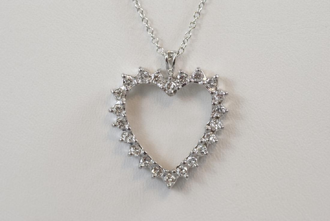 14kt White Gold & 1.1 Carat Diamond Heart Necklace