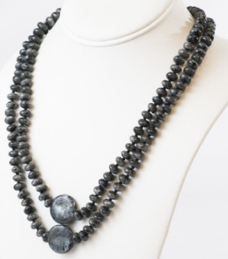 Pair Hand Knotted Carved Hardstone Necklaces