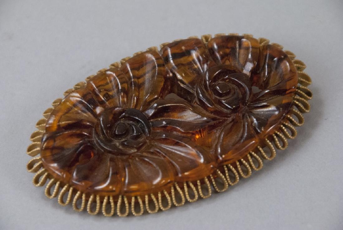 Vintage Faux Tortoise Bakelite & Gilt Metal Brooch