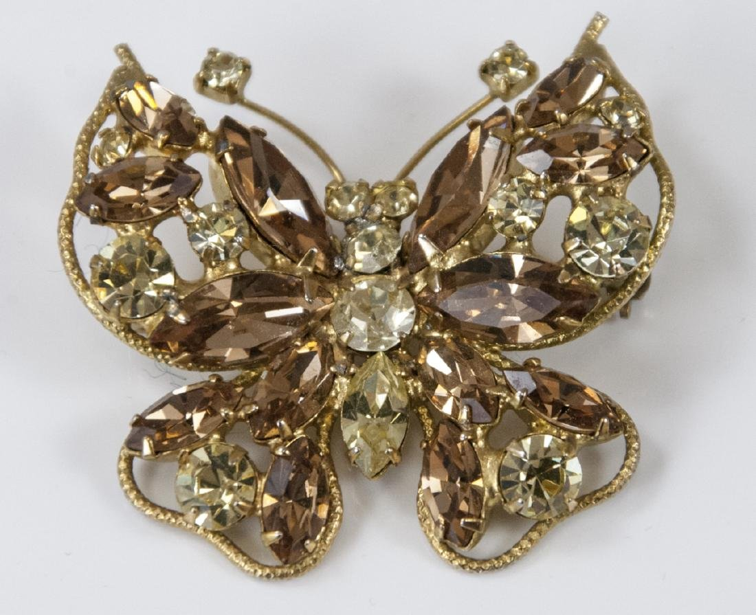 Vintage Champagne Tone Rhinestone Butterfly Brooch