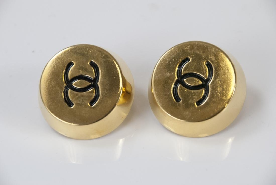 Vintage Chanel Double C Logo Gilt Metal Earrings