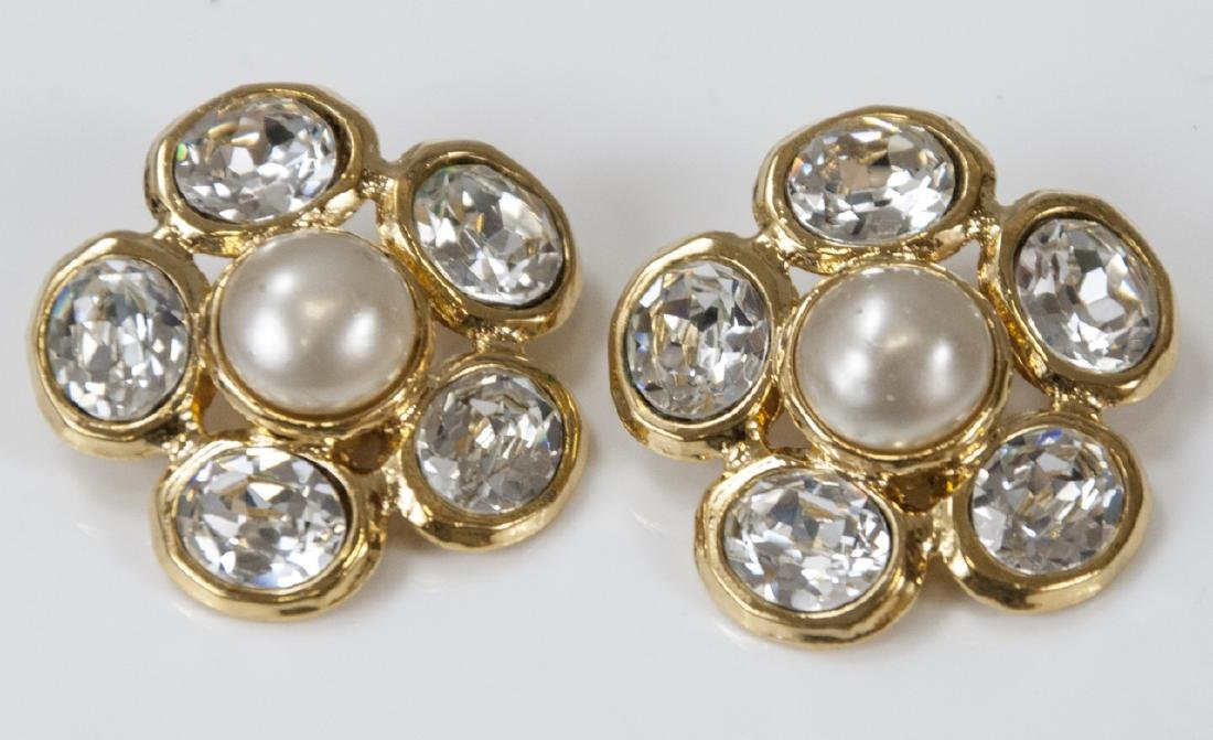 Vintage Chanel Faux Pearl & Rhinestone Earrings