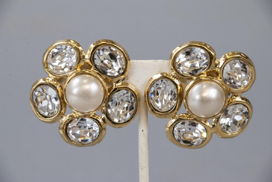 Vintage Chanel Faux Pearl & Rhinestone Earrings - 3