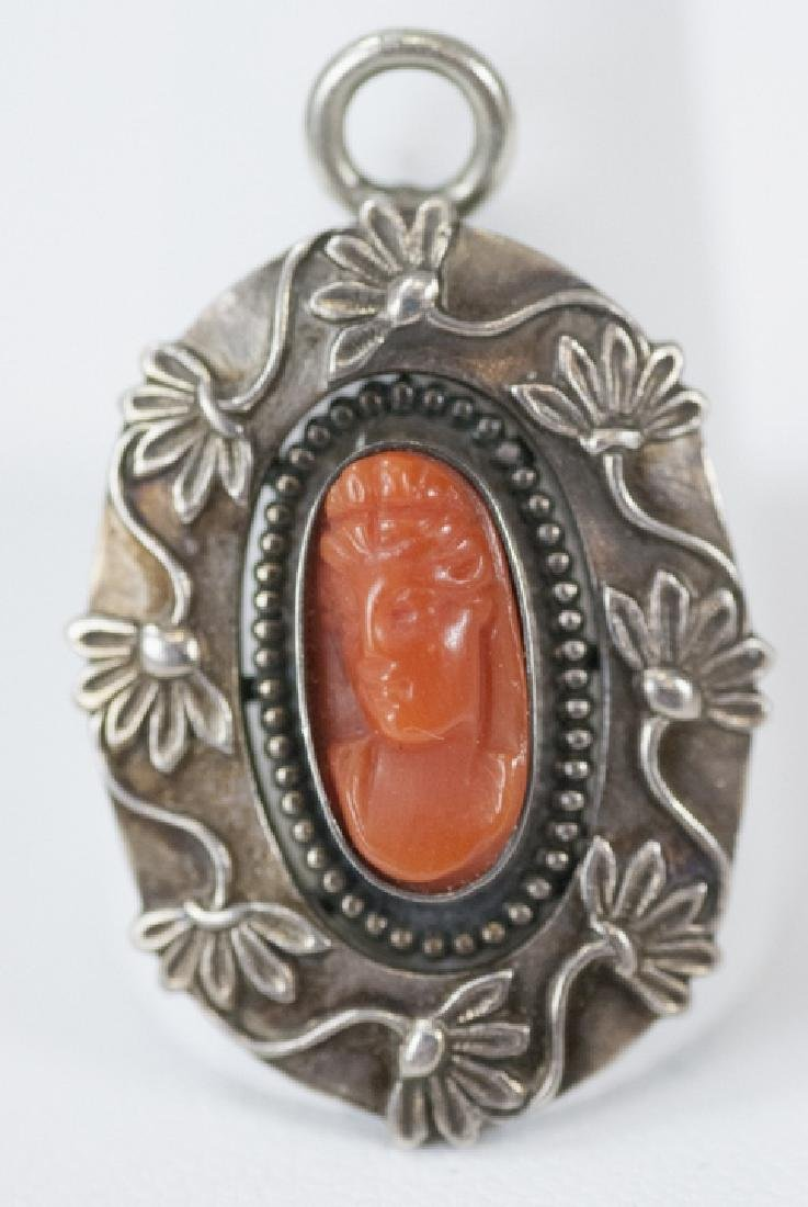 Antique Silver & Coral Cameo Necklace Pendant