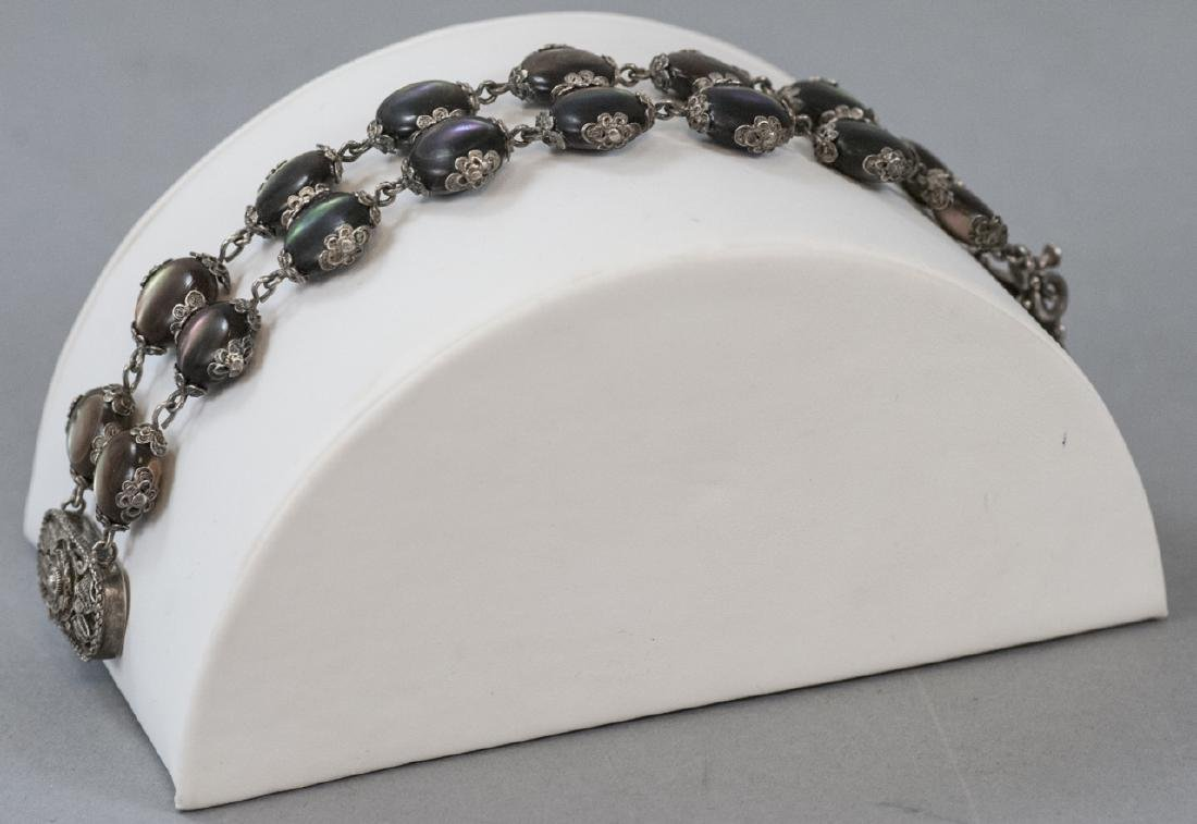 Antique Chinese Silver & Abalone Shell Bracelet