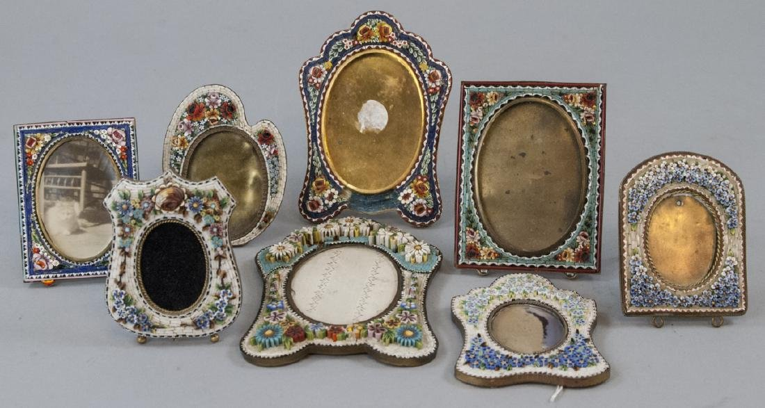 Collection of Antique Micro Mosaic Picture Frames