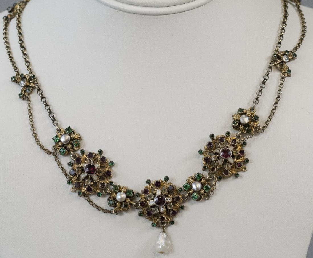 Estate Austro Hungarian Style Gilt Silver Necklace