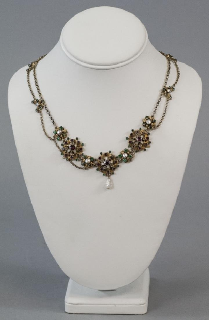 Estate Austro Hungarian Style Gilt Silver Necklace - 4