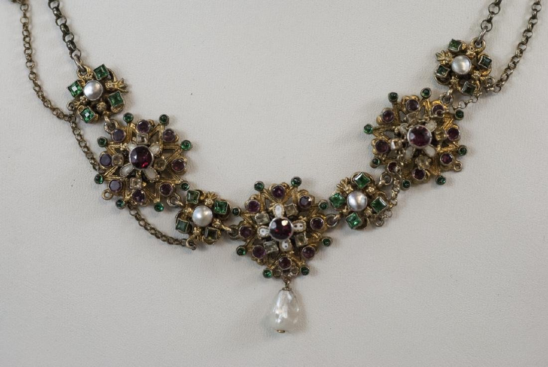 Estate Austro Hungarian Style Gilt Silver Necklace - 5