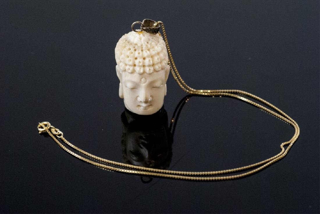 Hand Carved Bone Buddha Head Necklace Pendant