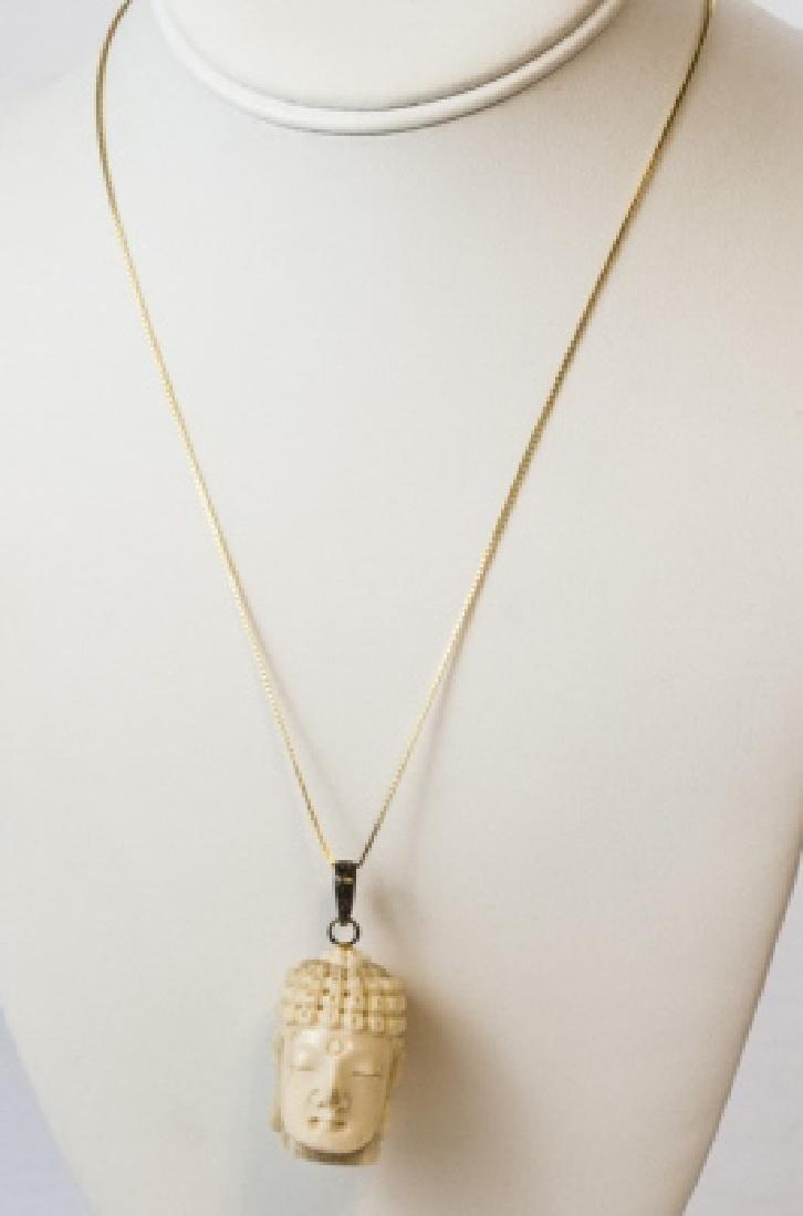 Hand Carved Bone Buddha Head Necklace Pendant - 2