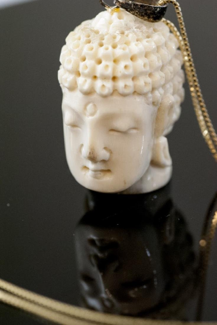 Hand Carved Bone Buddha Head Necklace Pendant - 3