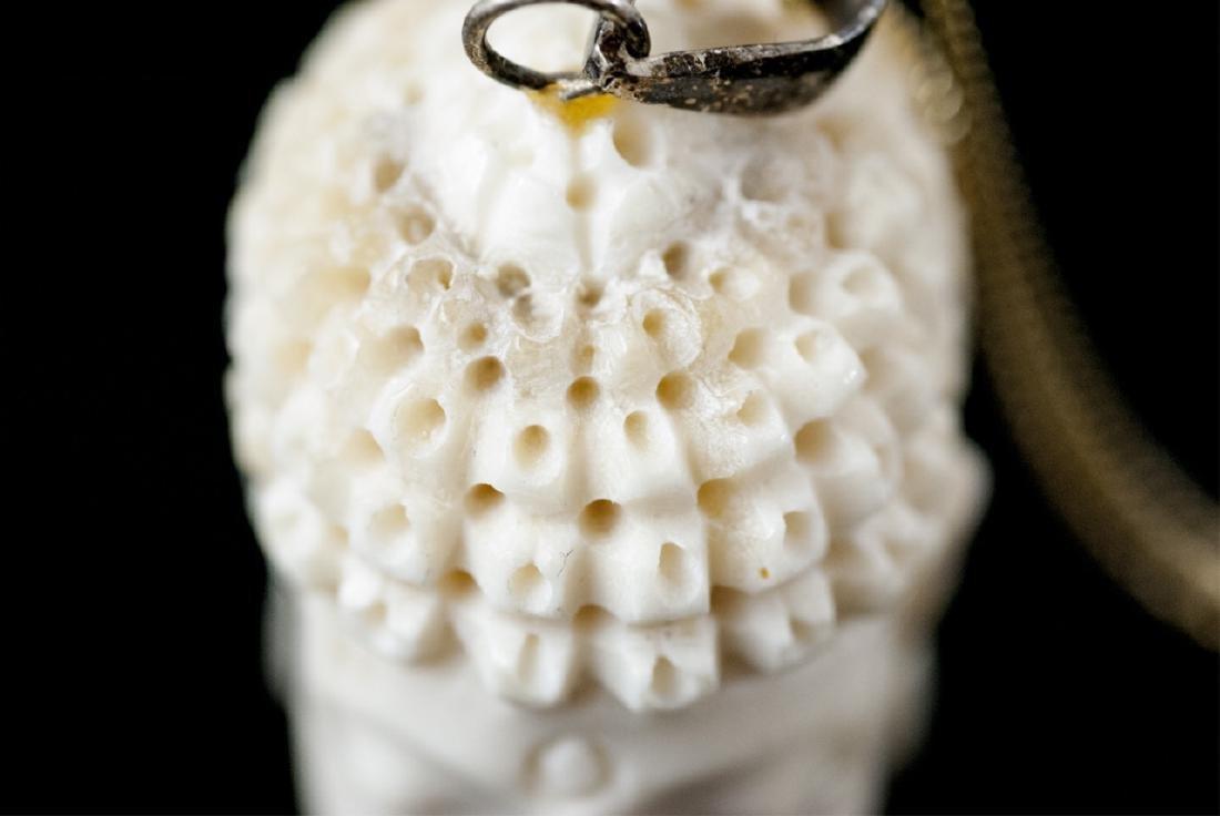 Hand Carved Bone Buddha Head Necklace Pendant - 4