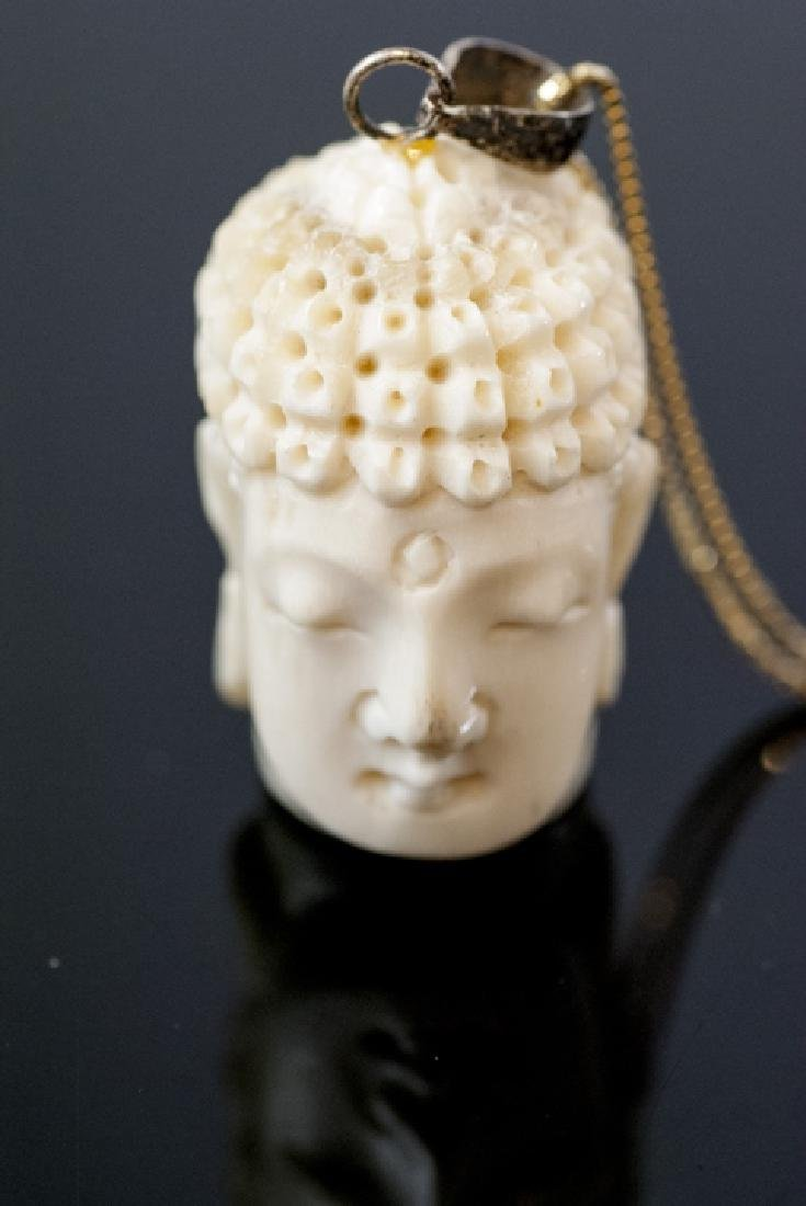 Hand Carved Bone Buddha Head Necklace Pendant - 6