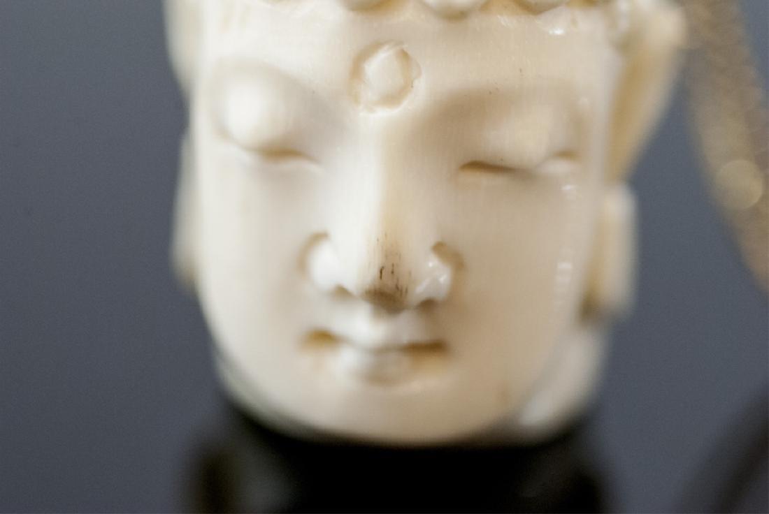 Hand Carved Bone Buddha Head Necklace Pendant - 7