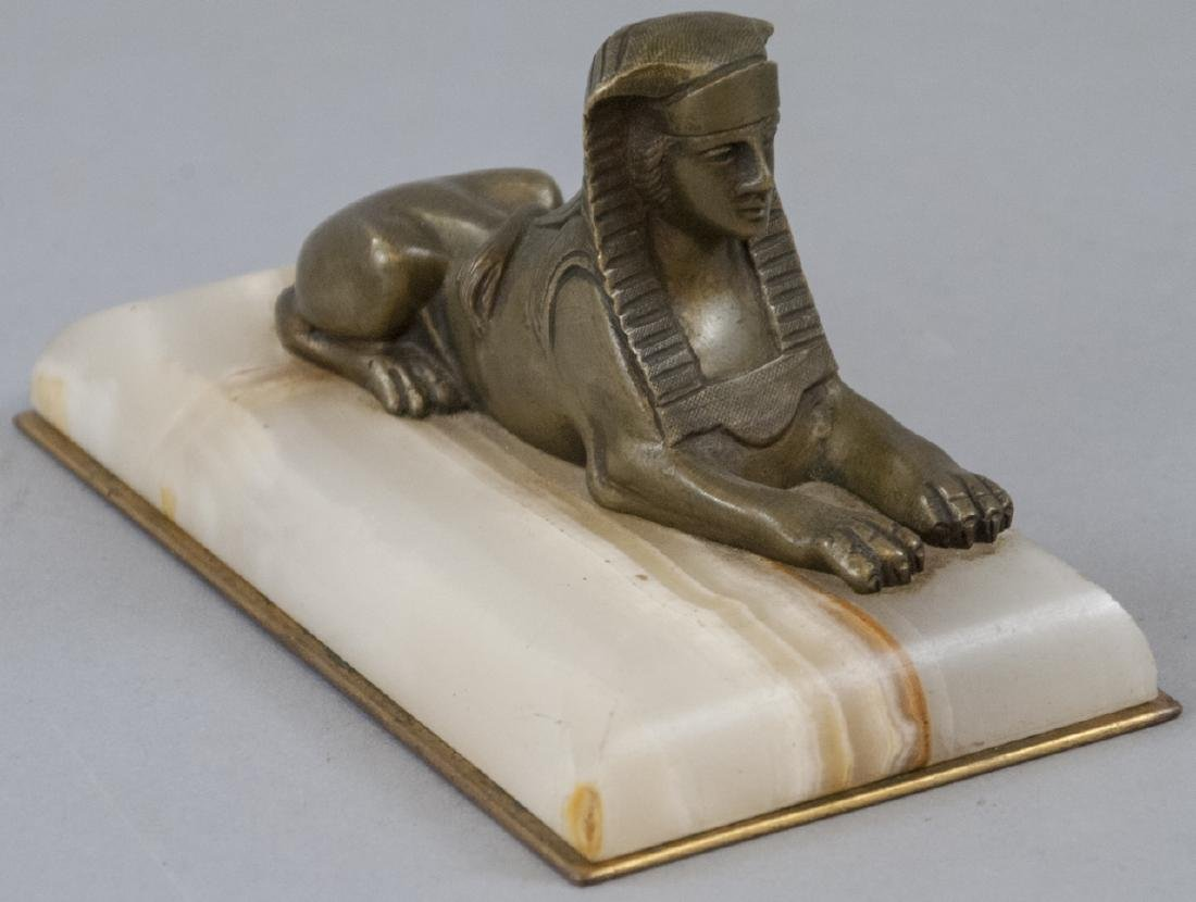 Antique 19th C Egyptian Sphinx Statue w Onyx Base