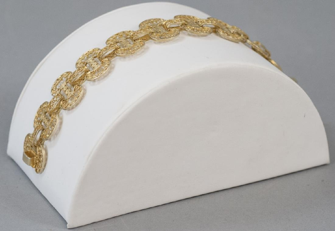 Estate Vermeil Silver Filigree Panel Bracelet