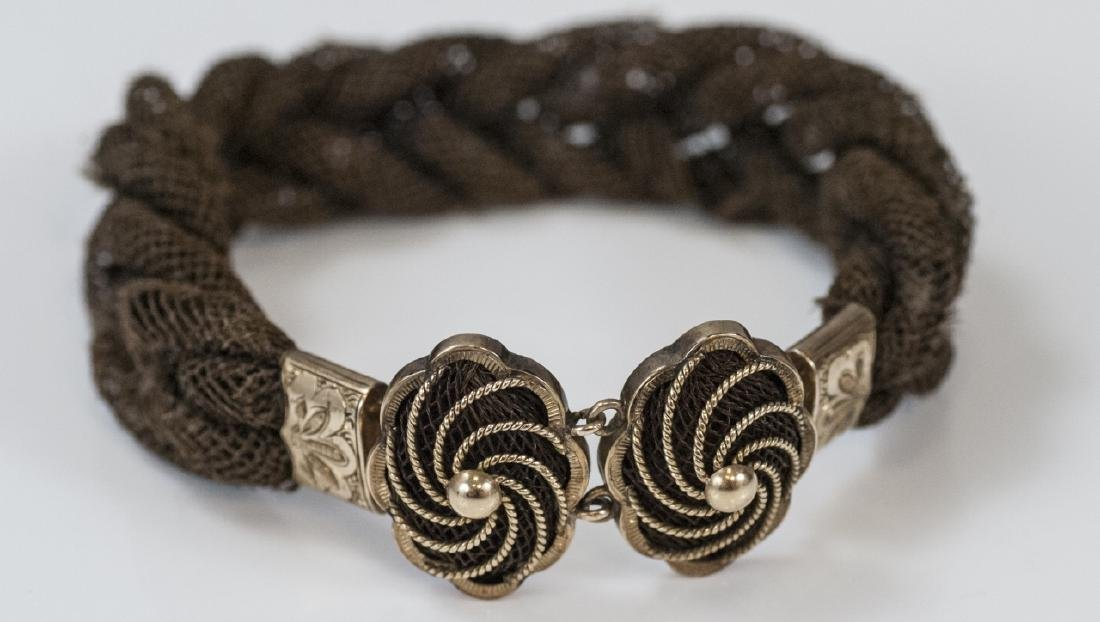 Antique 19th C 14kt Gold & Woven Hair Bracelet