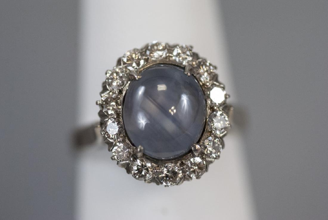 Star Sapphire White Sapphire Sterling Silver Ring