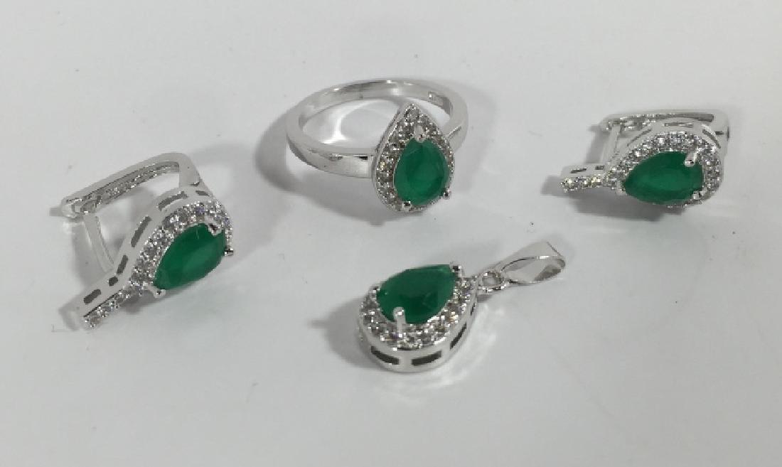 "Fashion Costume Jewelry Set - ""Emerald & Diamond"""