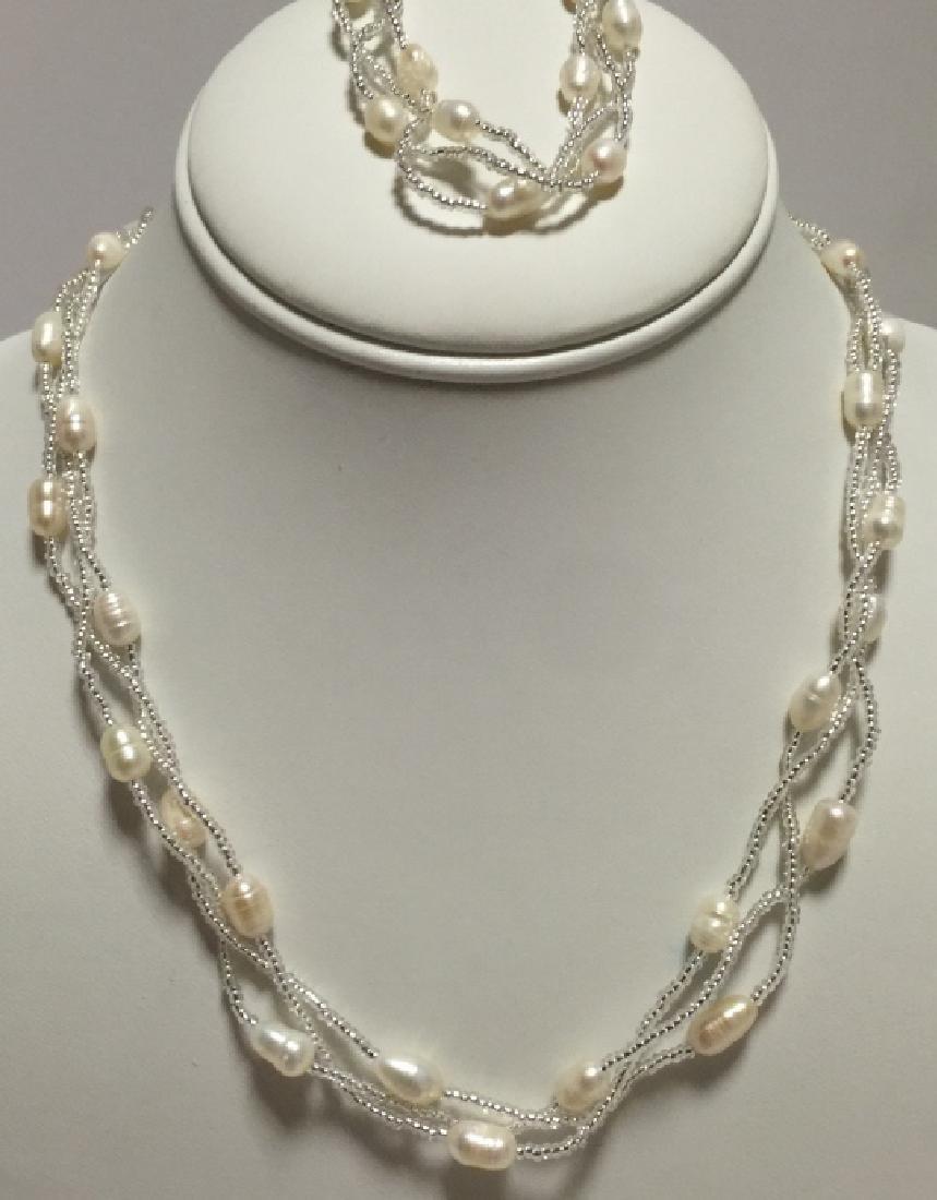 Baroque Style Pearl & Glass Bead Multi Strand Set