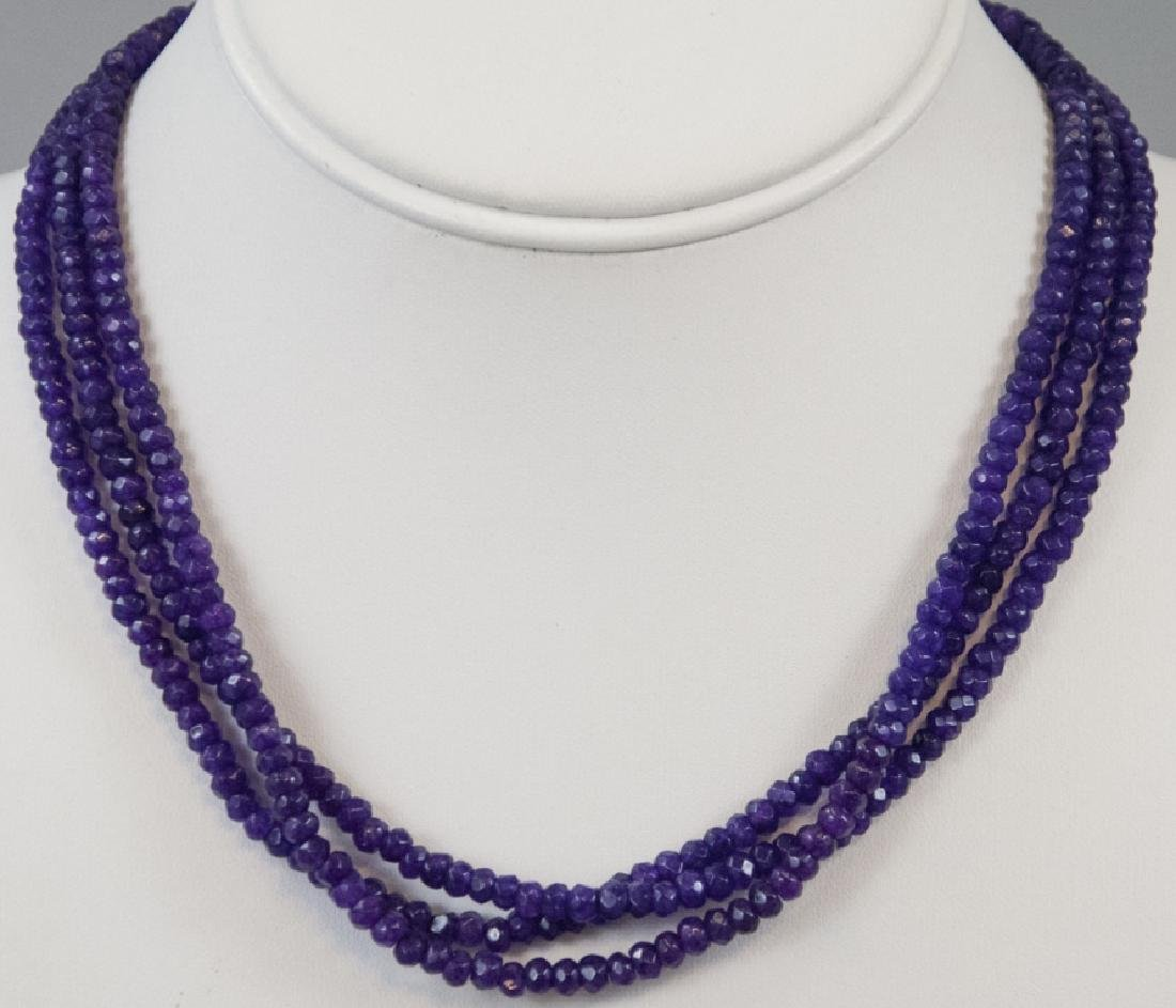 Three Faceted Amethyst Bead Necklace Strands