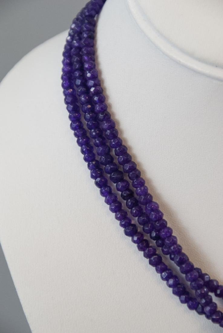 Three Faceted Amethyst Bead Necklace Strands - 2