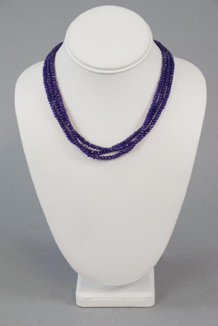 Three Faceted Amethyst Bead Necklace Strands - 4