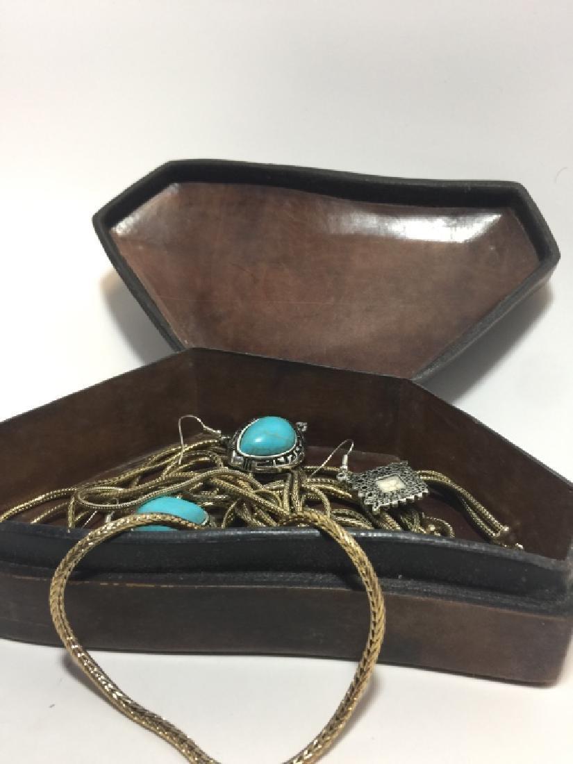 Antique Handmade Leather Box w Costume Jewelry
