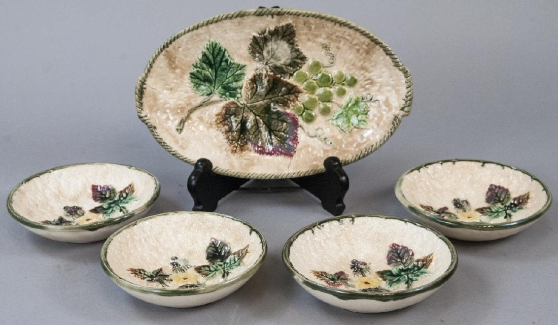 Set Of Clifton Decor Majolica Plates & Dish