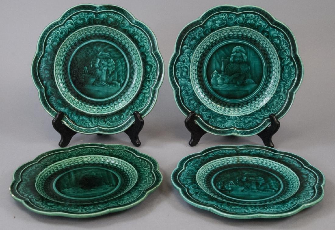 Set Of 4 Green Rubelles S & M Majolica Plates