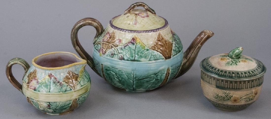 Assorted Majolica Teapot, Creamer & Sugar Dish