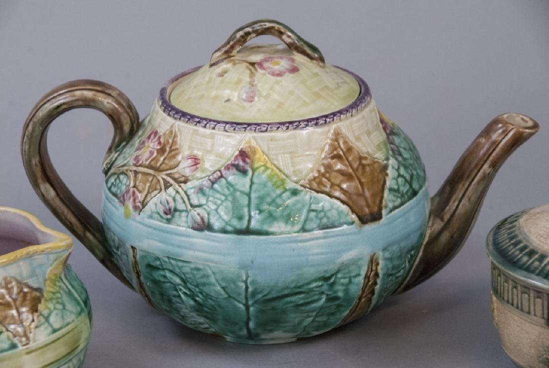Assorted Majolica Teapot, Creamer & Sugar Dish - 3