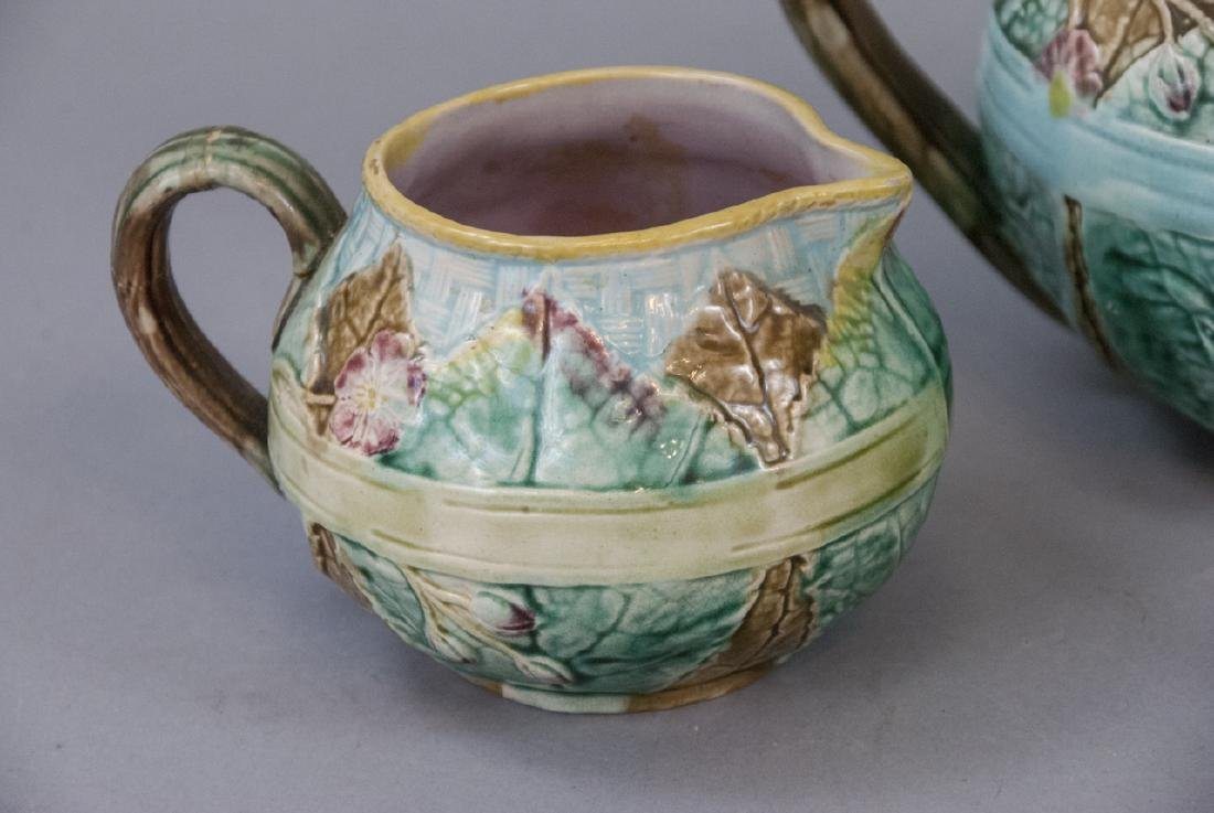 Assorted Majolica Teapot, Creamer & Sugar Dish - 7