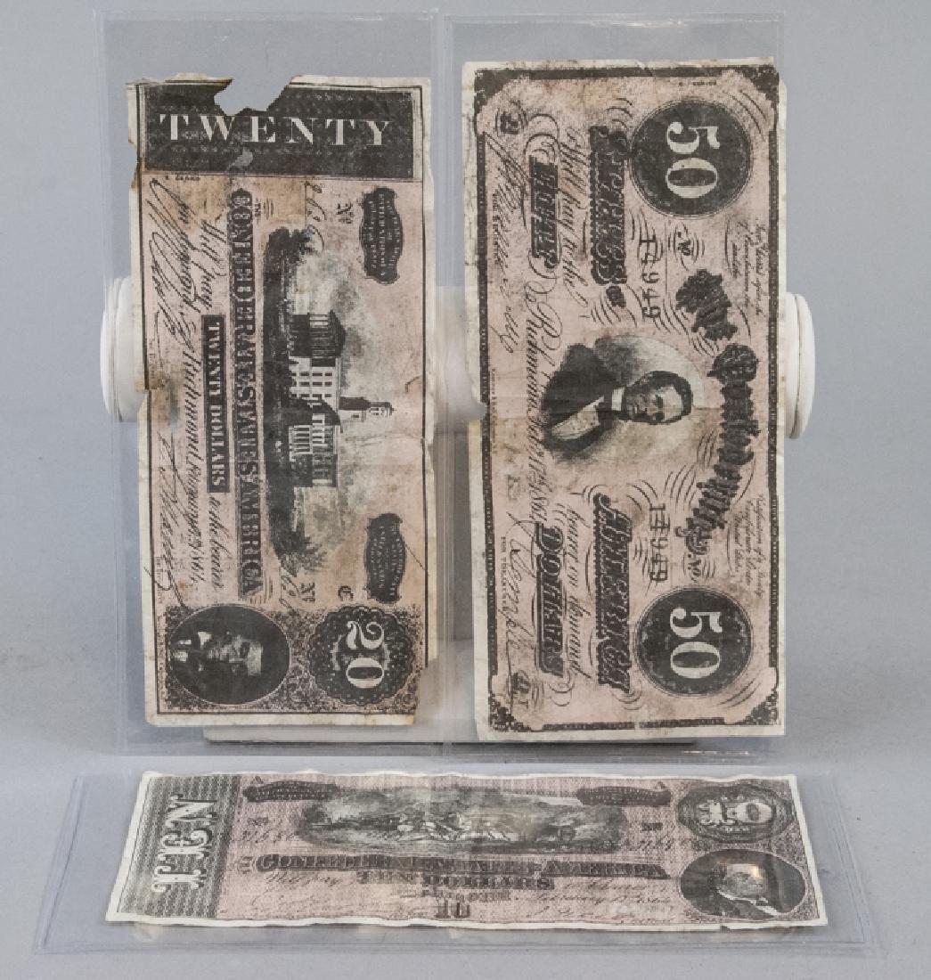 Group of Three 19th C Confederate States Bills