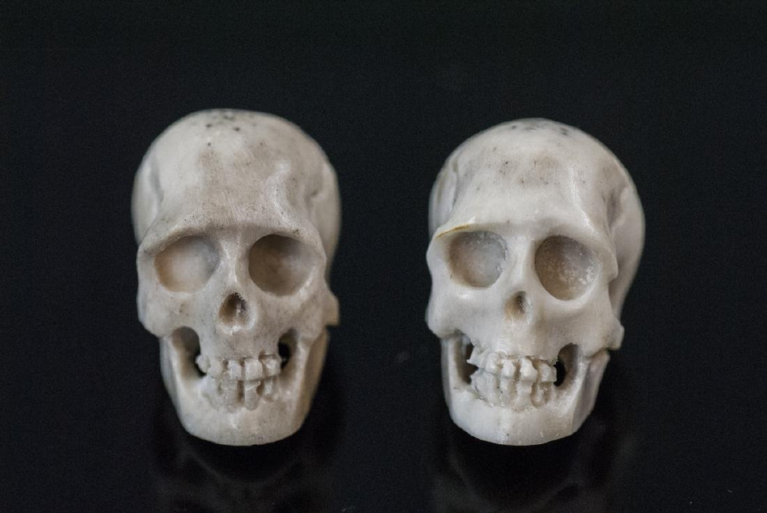 Pair Hand Carved Horn Memento Mori Skulls