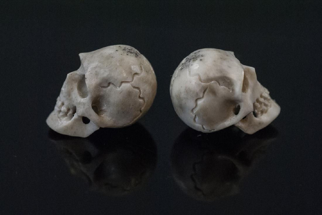 Pair Hand Carved Horn Memento Mori Skulls - 2