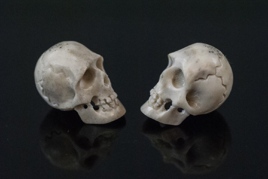 Pair Hand Carved Horn Memento Mori Skulls - 3