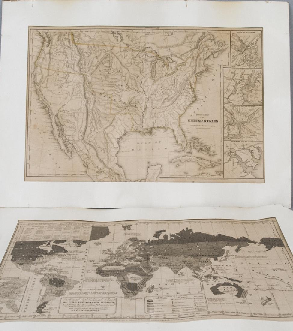 Antique Pair Of Maps Of  America & The World