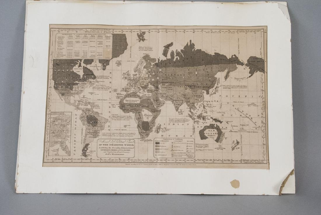Antique Pair Of Maps Of  America & The World - 4