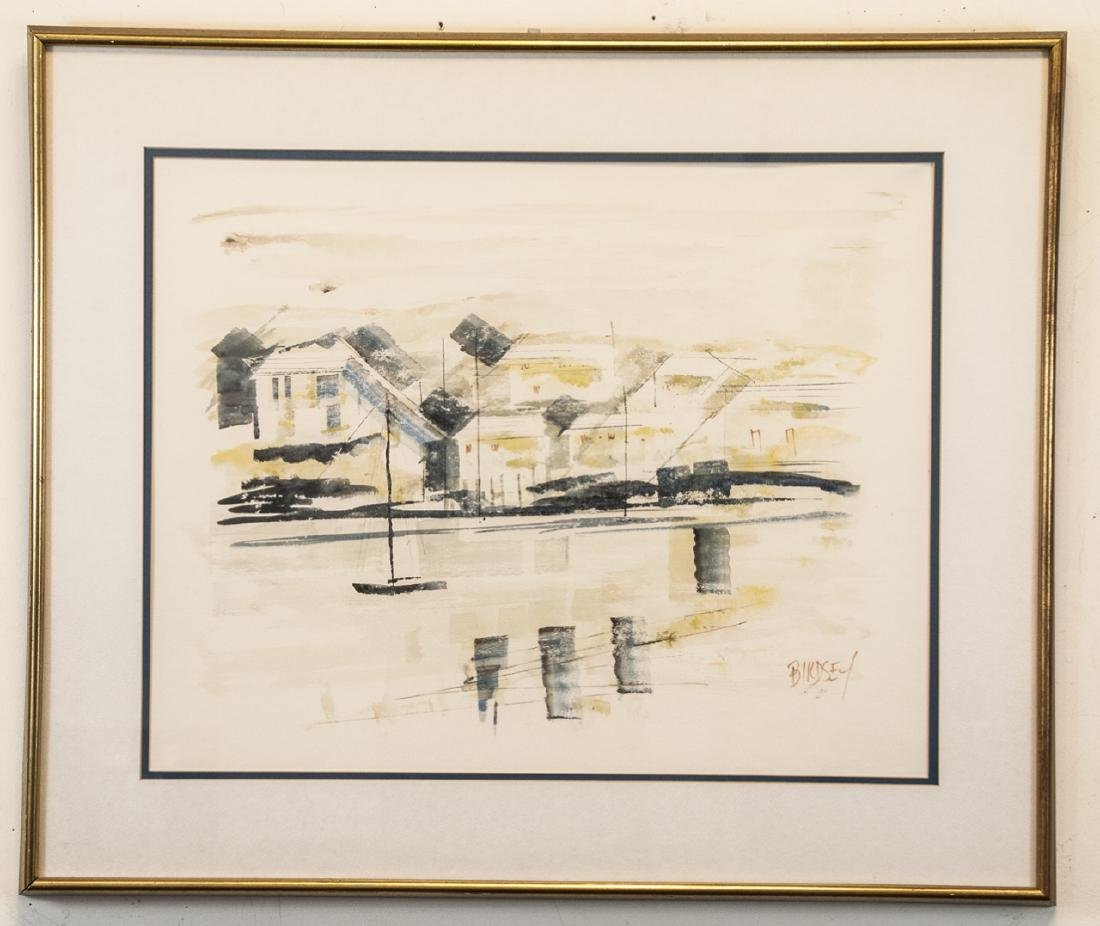 Signed Alfred Birdsey Watercolor Bermuda Harbor