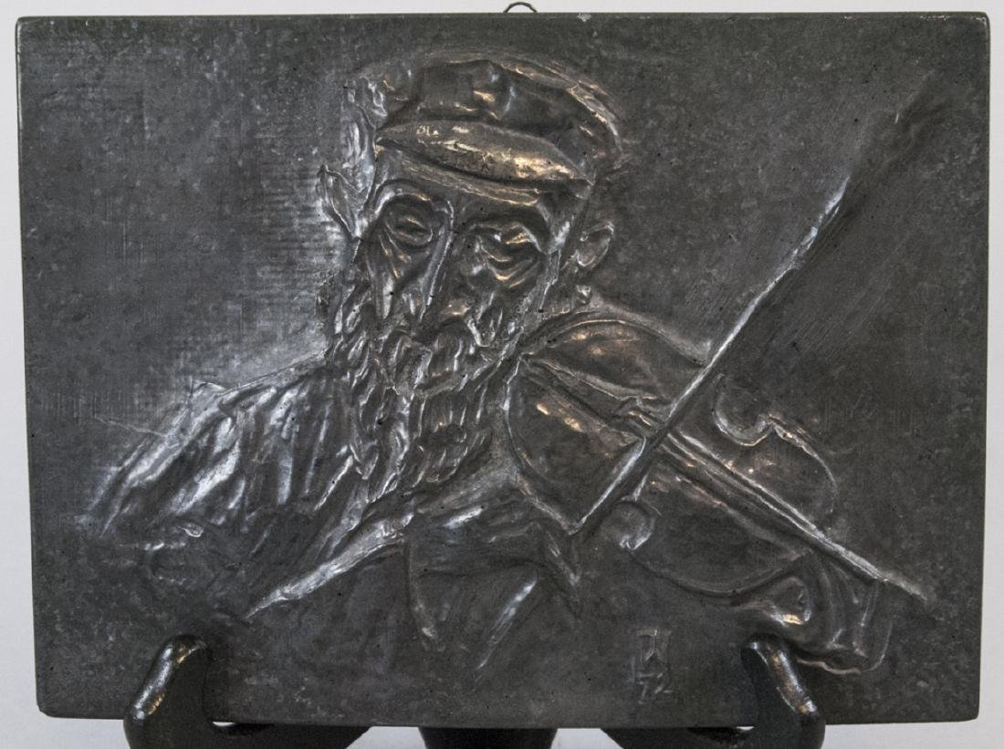 Signed Judaica Pottery Plaque of Fiddler