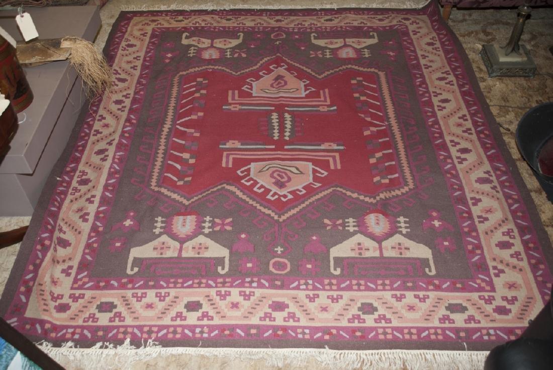 Large Dhurrie Style Wool Rug Southwestern Pattern