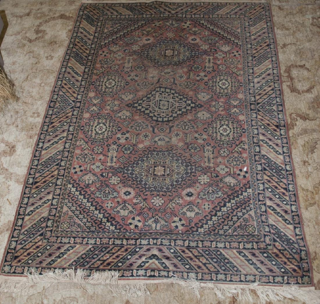 Vintage Knotted Wool & Silk Blend Persian Rug