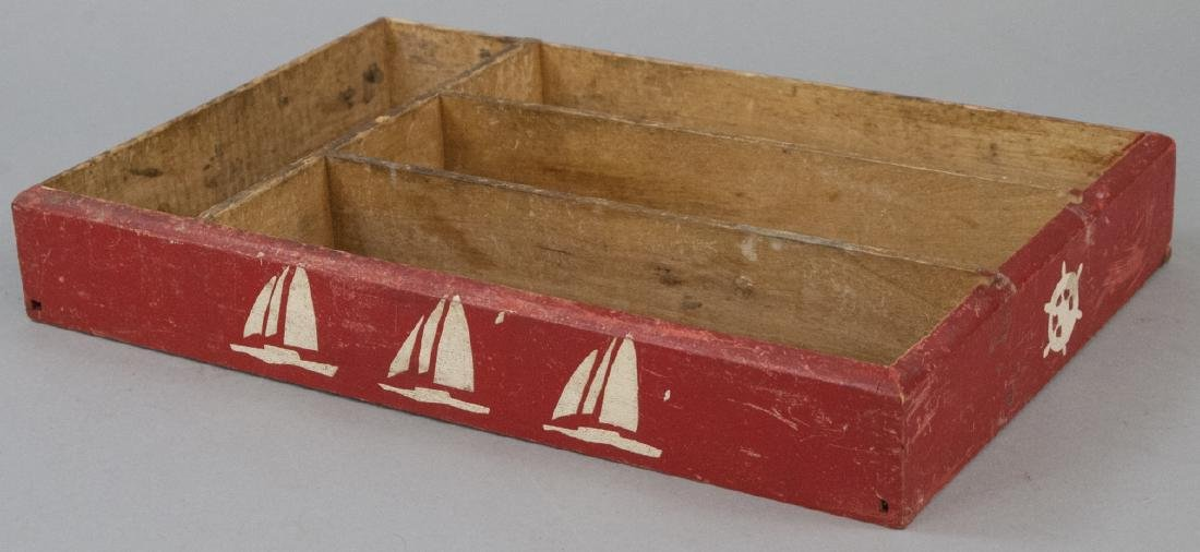 Vintage Hand Painted Stencil Nautical Cutlery Box