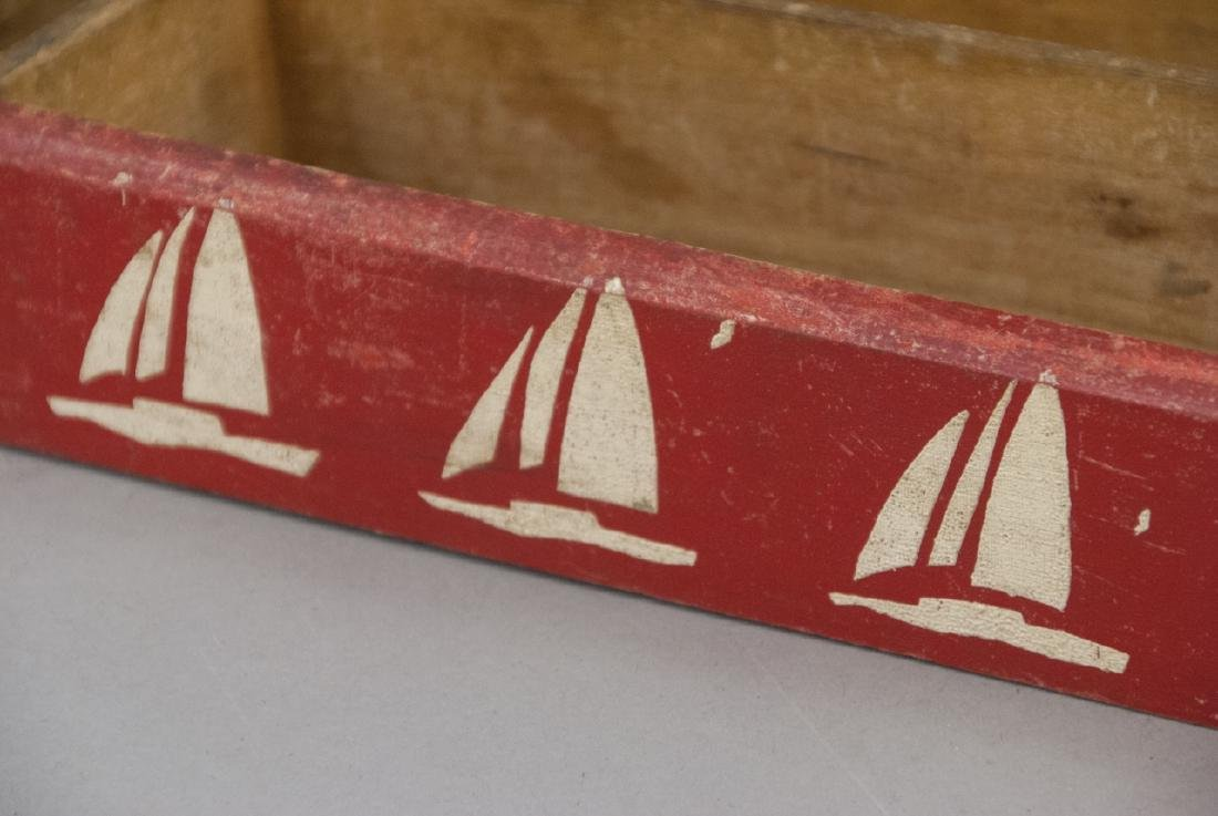 Vintage Hand Painted Stencil Nautical Cutlery Box - 2